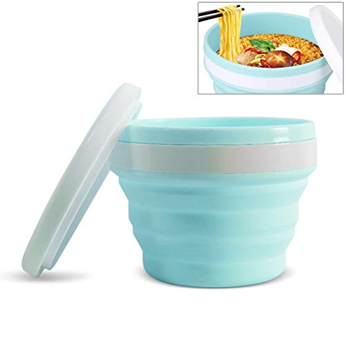 Collapsible Camping Cup with LidPortable Travel Folding Bowl Silicone Bowl with Lid for Outdoor Camping Traveling