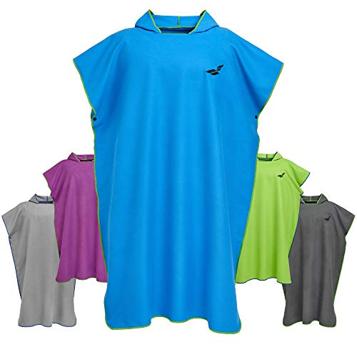 Fit-Flip Surf Poncho – Badeumhang, Umkleidehilfe Damen, Badeponcho, Umkleide Poncho – Größe M, blau/grün