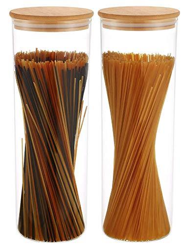 Praknu Vorratsdosen für Spaghetti 2er Set - Luftdicht mit Deckel - Spülmaschinenfest - Hoch 30cm