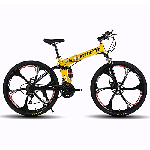 DengDD 24/26 Inch Folding Mountain Bike,Front And Rear Variable Speed Shock Absorber Bicycle,Double Disc Brake,21/24/27 Speed Sports MTB for Adult Student,Yellow,26inch