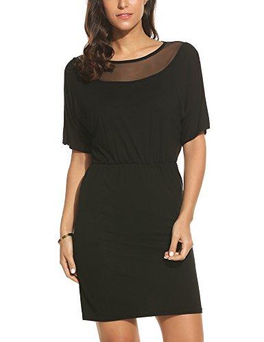Parabler Damen Etuikleid Bodycon Kleider Partykleid Sommerkleider Enges Kleid Kurzarm Schulterfrei Loose (EU 38(Herstellergröße:M), X_Schwarz)