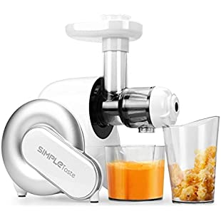SimpleTaste Masticating Juicer, Slow Juice Extractor BPA FREE with Quiet Motor & Cleaning Brush for High Nutrient Fruit and Vegetable Juice