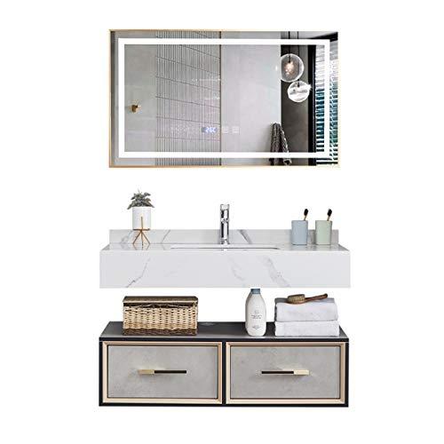 Junta de baño de Tablero Libre de Laca de Madera Combinación de la combinación Smart Mirror Set de tocador de baño Fregadero de cerámica con gabinete de Medicina. (Color : Black, Size : 50x80x43cm)