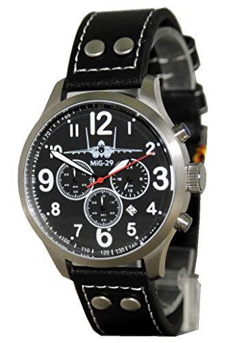 IMC Fliegeruhr MIG-29 Fulcrum Männer Herren Chronograph Armbanduhr Uhr Herren Lederarmband Edelstahl groß