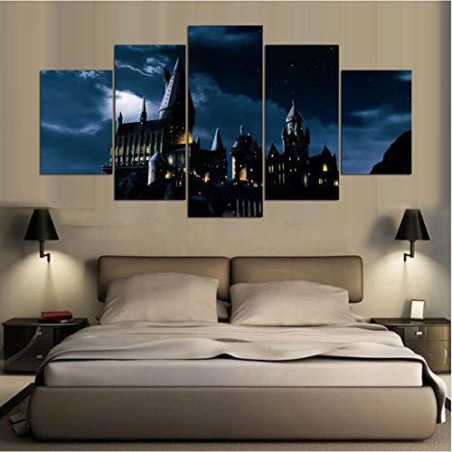 LLLYZZ Cuadros modulares para el hogar decoración Lienzo de Pintura 5 Piezas Harry Potter Hogwarts Castle Wall Art HD Cartel de película Impreso YGYT