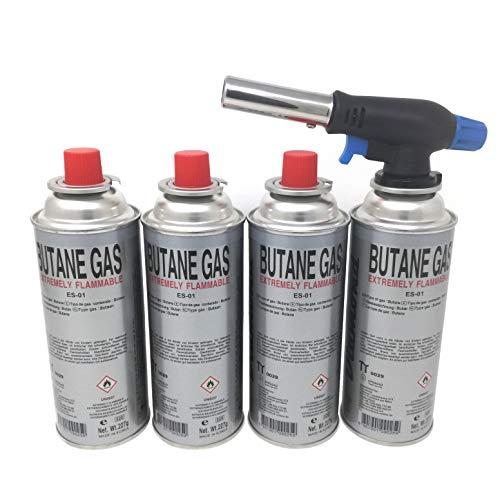 Starlet24 Bunsenbrenner Lötbrenner Gasbrenner Camping Gasanzünder Lötlampe mit Piezozündung, einstellbare Flammengröße für Gaskartuschen mit MSF-1a Anschluss (+ 4X Gaskartuschen)