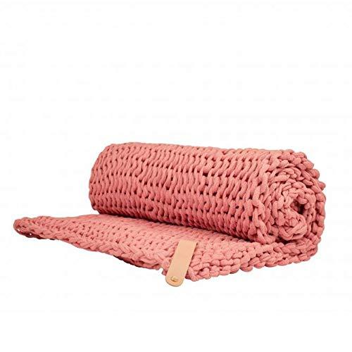 Adorist Chunky Knit Kuscheldecke Juna 150x203cm - Strickdesign im skandinavischen Stil - Strickdecke grob -Ideal als : Sofadecke - Überwurf fürs Bett/Sofa - Bettüberwurf - Plaid- rosa