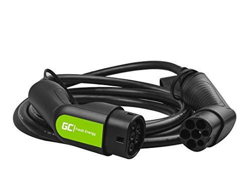 Green Cell® GC Type 2 Kabel für EV Elektrofahrzeuge Elektroautos PHEV | 7.2 kW | 32 A | Typ 2 auf Typ 2 | 5 m | 1-Phasen | Kompatibel mit Tesla Model 3 / S / X, ZOE, i3, ID.3, e-Golf, E-Tron
