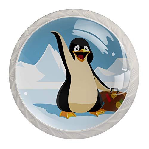 Manija del cajón Pingüino que lleva una maleta Tirador para muebles cristal Perilla de cajón Redondo Pomo para muebles 4 piezas Para cocina salón baño dormitorio 3.5×2.8CM