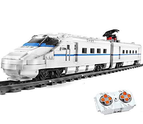 Bloques de construcción tren de ciudad teledirigido con motor, servo y control remoto de 2,4 GHz y accesorios de rieles.