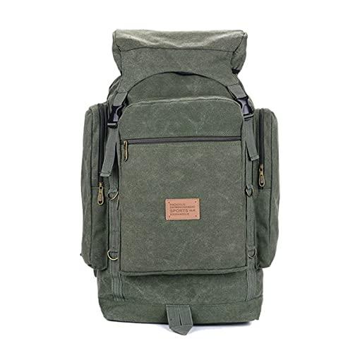 FGJH 6. 0L 80L. Borsa Militare da Uomo Zaino tattico Zaino Canvas Army Bag Grande Viaggio Camping Escursionismo Alpinismo Borsa Sportiva all'aperto 802 (Color : Army Green, Size : M)