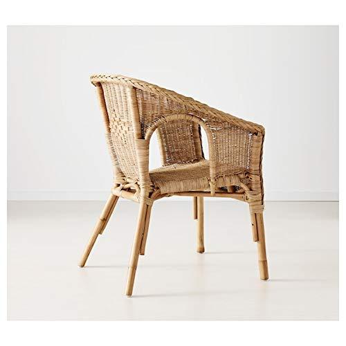 BestOnlineDeals01 AGEN Sedia, rattan, bambù, 58x56x79 cm resistente e facile da pulire. Poltrone in rattan. Poltrone e chaise longue. Divani e poltrone. Mobili rispettosi dell'ambiente.