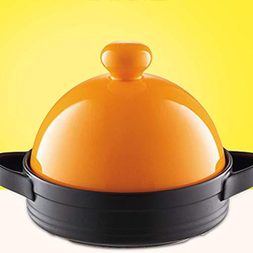 LILIJIA Pot en Céramique Multifonctionnel Cuisine Marocaine Fait Main 100% sans Plomb, Résistant Chaleur Micro-Pression en Céramique Fond Plat Ragoût Pot en Argile Casserole Riz,Orange