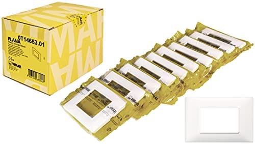 Vimar Plana 0T14653.01 Placca 3 moduli in tecnopolimero, 10 pezzi, bianco
