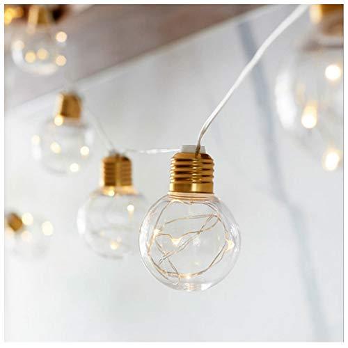 MMLsure® 10LED Lichterkette Batterie,Transparent Glühbirne Runde Kugel Licht Outdoor Garten Lampe für Weihnachten Hochzeit Home Zimmer Dekoration (Weiß)
