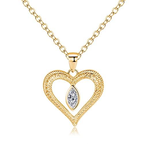 ZIYUYANG collar colgante, simple oro / corazón blanco colgante collar clavícula cadena joyería oro