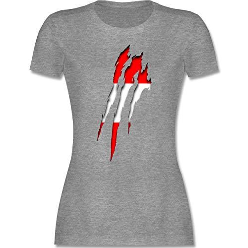 Länder - Österreich Krallenspuren - L - Grau meliert - österreich Tshirt Damen - L191 - Tailliertes Tshirt für Damen und Frauen T-Shirt