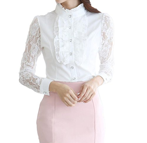 Nanxson Mujeres Vendimia Loto Volante Fruncido Blusa Gasa Encaje Manga Larga Camiseta Top CSW0038 (S, Blanco)