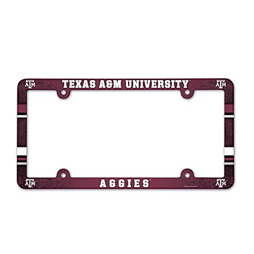 WinCraft Texas A&M Aggies Official NCAA 12 inch x 6 inch Plastic License Plate Frame 900708