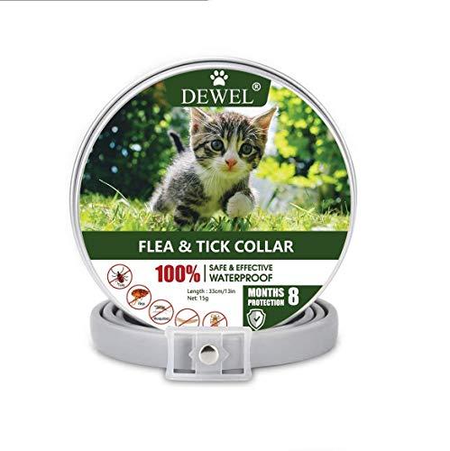 DEWEL 33cm Zecken Halsband für Katze, Floh Zecken Kragen Floh-und Zecken Prävention Halsbänder, Verstellbar Wasserdicht Katze Flohhalsband