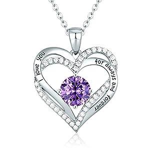 Herz Halskette 925 Sterling Silber Roségold, 5A Zirkonia Birthstone Anhänger Kette Damen Muttertag Schmuck Geschenk mit Box (Sterlingsilber Februar)