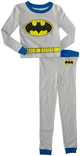DC Comics Boys Toddler Batman Costume Pajama Set, Gray, 4T