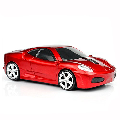 MGbeauty Sport Car Shape Computer Mice 2.4ghz Wireless Mouse 1600dpi Optical Gaming Mice (Red)
