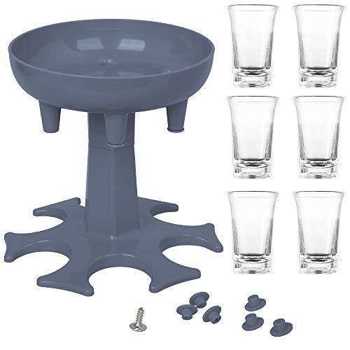 Dispensador y Soporte para 6 Vasos de Chupito, Speyang Dispensador de Vasos de Chupito de 6 Vias, Dispensador de Chupitos de Barra, Dispensador de 6 Chupitos y Portador, con 6 Vasos