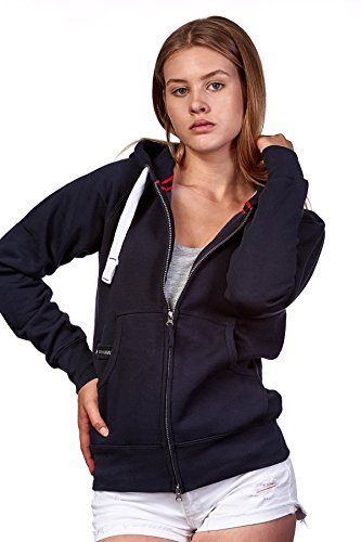 Happy Clothing Damen Sweatjacke mit Kapuze Zip Hoodie Kapuzenjacke Basic Einfarbig S M L, Größe:L, Farbe:Dunkelblau