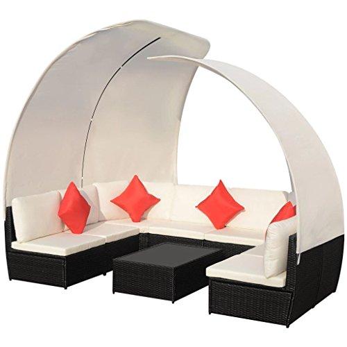 SSITG Gartensofa mit Sonnendach 34-tlg. Poly Rattan Schwarz Lounge Sitzgruppe