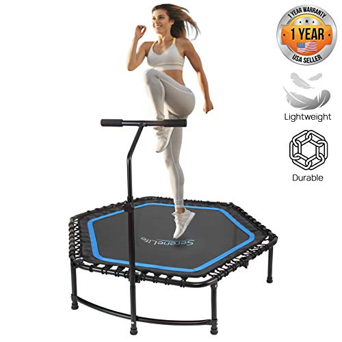 SereneLife Indoor Fitness Trampoline Folding 48 Inch with Adjustable Handrail and Safety Pad, Exercise Trampoline Rebounder for Indoor/ workout training, Black (SLELT518)