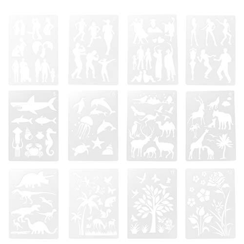 EXCEART Zeichnung Malschablonen Wiederverwendbare Kunststoff Tier Pflanze Figur Vorlage für DIY Karte Scrapbooking Journal Bastelbedarf 12Pcs