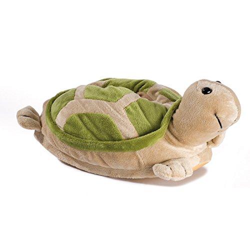 Funslippers Unisex Tierhausschuhe Plüsch Hausschuhe Schildkröte, Grün, M