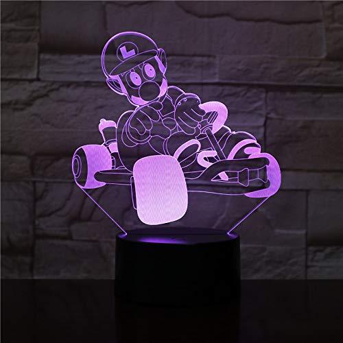 3D Illusion Nuit Lumière Super Character Racing Led Bureau Table Lampe Chevet 7 Couleur Tactile Lampe Maison Chambre Bureau Décor Pour Enfants D'Anniversaire De Cadeau