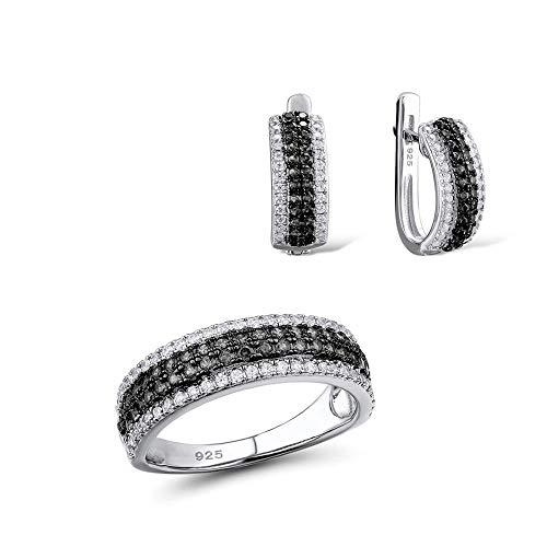 AdronQ® Conjuntos de Joyas para Mujer Espinelas Negras Piedras de CZ Blancas Conjunto de Joyas Pendientes Anillo Plata de Ley 925 Moda