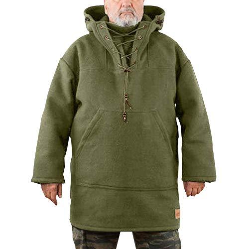 THWJSH Sudadera Mauni para hombre, con capucha, para invierno, Navidad, para exteriores, casual, suéter/abrigos/chaquetas/sudaderas/sudaderas con capucha, verde militar, XXL