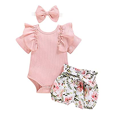 Baby Girl Clothes 6-9 Months Short Sleeve Ruffle Romper Floral Pants Bowknot Headband 3Pcs Infant Toddler Outfits Pink from
