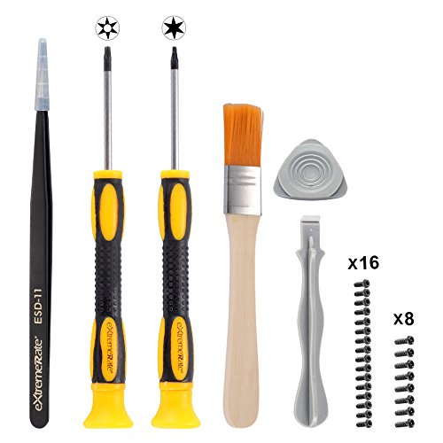 eXtremeRate T6 T8H Screwdriver Set Opening Tools Repair Kits for Xbox One, Xbox One Elite, Xbox One S,Xbox One X and Xbox 360 Controller with Spare Screws Tweezers Prying Tool and Cleaning Brush