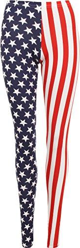 WearAll - Damen USA Streifen Lange Leggings - Blau - 36 bis 38