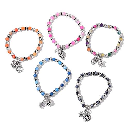 TJC Set of 5 - Multi Agate Bead Stretchable Bracelet (Size 7.50) with Multi Charm in Silver Plated 325.000 Ct, Perfect Design Jewellery Gift for Women and Girls