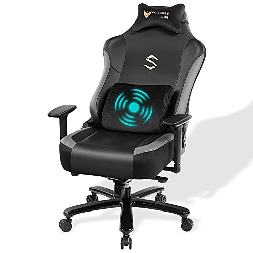 FANTASYLAB Big Tall Gaming Chair with Massage Memory Foam Game Chair Racing Recliner Computer Gamer Chair with Adjustable Armrest Tilt Back, High-Back PU Leather Executive Chair 400bls