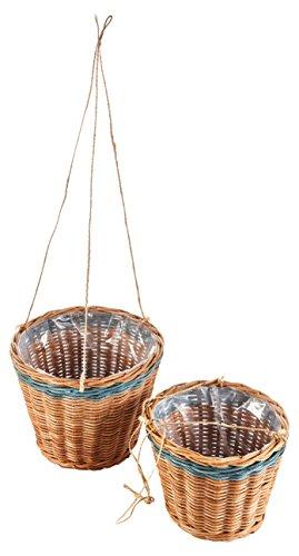 HEITMANN DECO Blumenampel Rattan für Garten und Haus - Deko-Set mit Zwei Körben, Blumentöpfe - natürlicher, klassischer Look