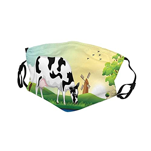 dairy masks 2pcs/lot Kids Face Mask Graphic Design Grazing Cow In The Field With Trees Near Lake And Windmill Pattern16x11cm