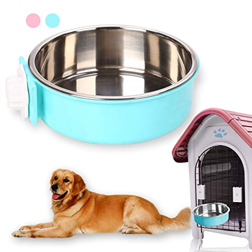 Andiker Pet Hanging Bowl 2-in-1 Removable Stainless Steel Food Hanging Bowl for Puppy/Cat, Pet Bowl Hanging Cage Large Water Food Feeder for Dogs Cats (large, blue)