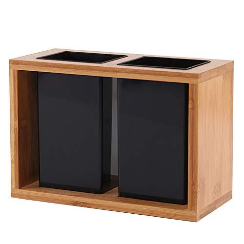 Besto nzon Soporte para utensilios de bambú cesta de madera cubiertos y soporte soporte soporte Escurreplatos (Utensilios de cocina cubiertos cubiertos y lapicero Acero Inoxidable para Cocina