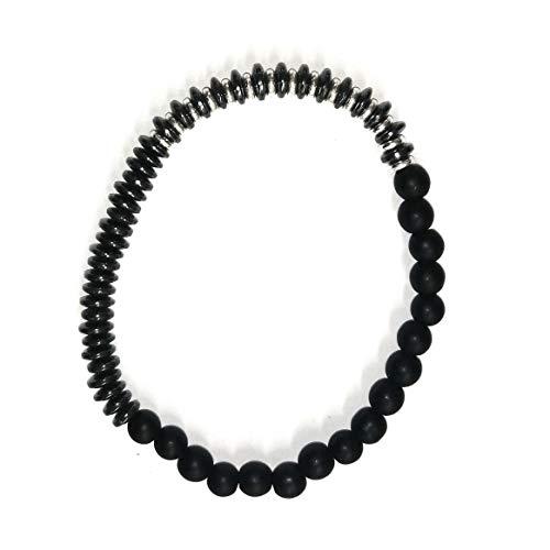 LOM1506 - Pulsera para hombre de tres caras con discos oscuros y anillos de plata con bolas de hematita