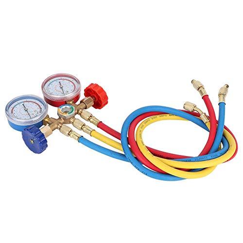 Manómetro de aire acondicionado, herramientas de aire acondicionado refrigerante Juego de manómetros de diagnóstico de CA con kit de manguera y gancho