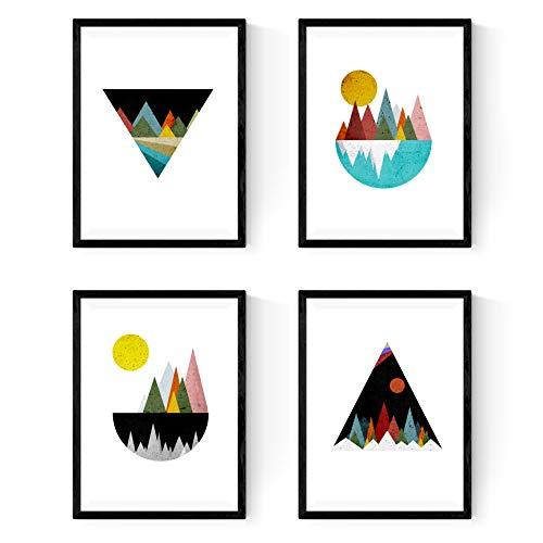 Nacnic Geometrische Poster 4-er Set. Nordischer Stil Wanddekoration Abbildung von bunten Berglandschaften im Rot- und Blautönen. Verschiedene Skandinavische Stil Bilder ohne Rahmen. Größe A4.