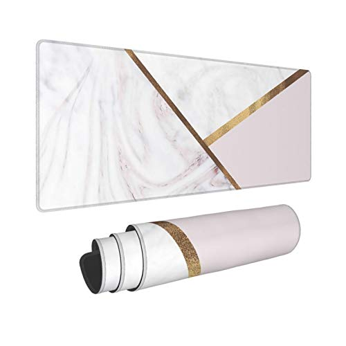 Rose Gold Marble Swirl & Blush Pink Bronze Glam Large Mouse Pad, Desktop Pad,Keyboard Computer Extended Gaming Mouse Pad with Non-Slip Rubber Base for Work, Game, Home 11.8 X 31.5 Inch(XL)