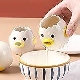 VSREI Separador de huevos de gallina, de cerámica, separador de huevos, separador de huevos, divertido para cocina, panadería, camping (amarillo)
